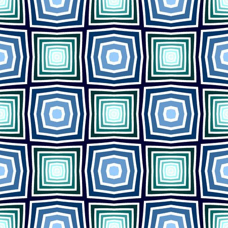 Seamless blue and green checked pattern. Geometric texture. Vector art.