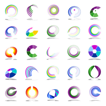 Rotation and spiral design elements. Vector