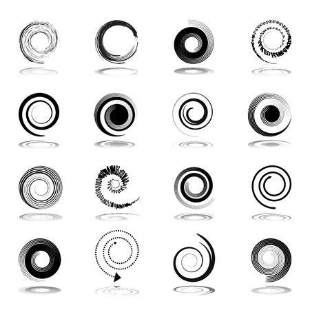 Spiraal design elementen. Vector kunst.