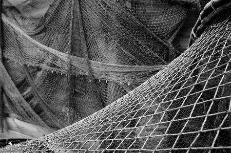 redes de pesca: Redes de pesca viejas. Foto de archivo