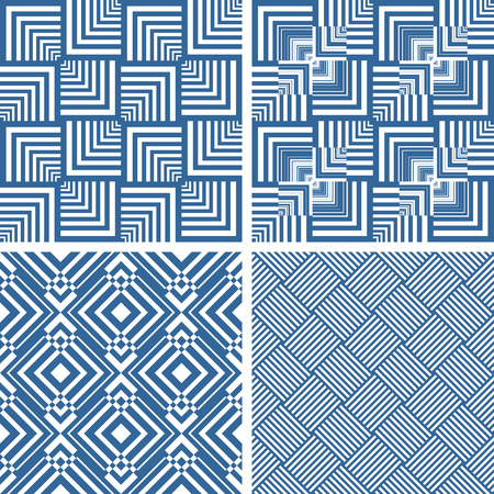 checked: Seamless geometric checked textures set. Vector art.