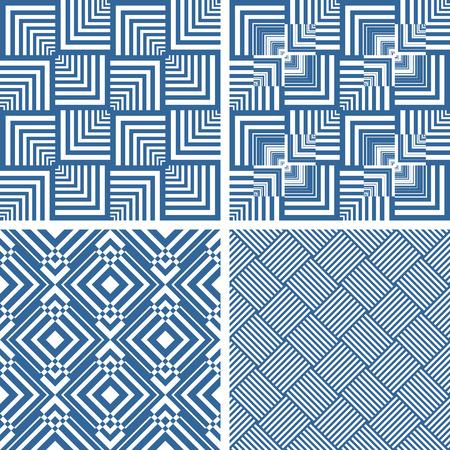 latticed: Seamless geometric checked textures set. Vector art.