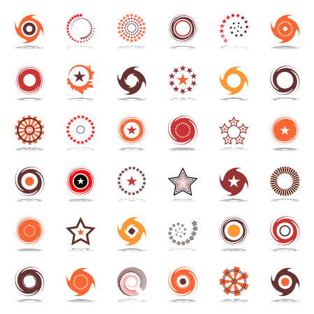Stars and rotation. Design elements in warm colors. Abstract icons set. Vector art.