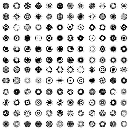 Design elements in circle shape. 144 abstract icons. Set. Vector art. Illustration