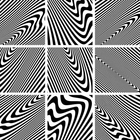 zebra stripes: Set of textures in zebra pattern design. Vector art.
