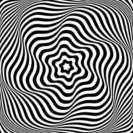 circle design: Illusion of wavy rotation movement. Abstract op art illustration. Vector art.