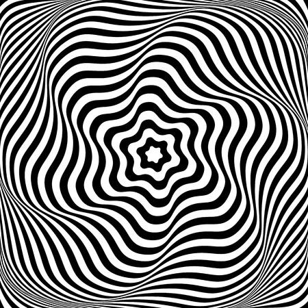 arte optico: Ilusión de movimiento de rotación ondulado. Ilustración abstracta del arte de Op. Vector el arte.