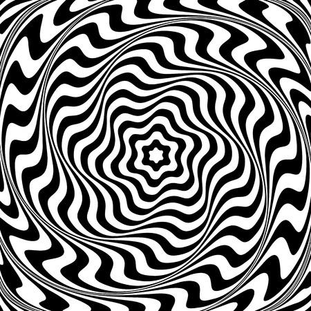 Illusion of  whirl movement. Abstract op art illustration. Vector art.  イラスト・ベクター素材