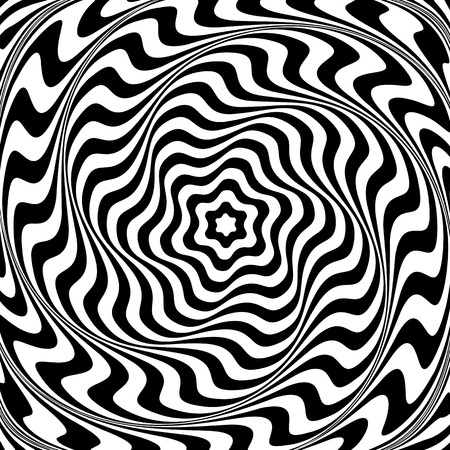 Illusion of  whirl movement. Abstract op art illustration. Vector art. Иллюстрация