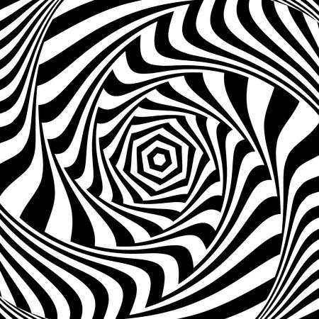Illusion of vortex movement. Abstract op art design. Vector art.