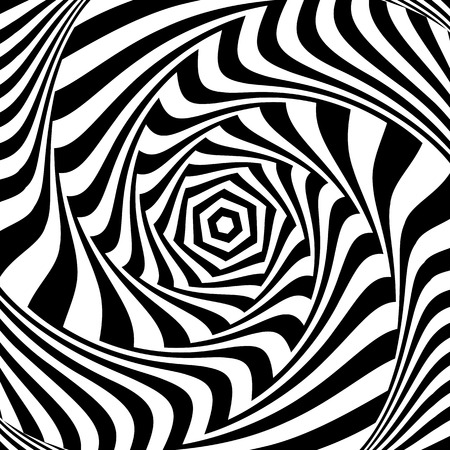 hexagonal pattern: Illusion of vortex movement. Abstract op art design. Vector art.