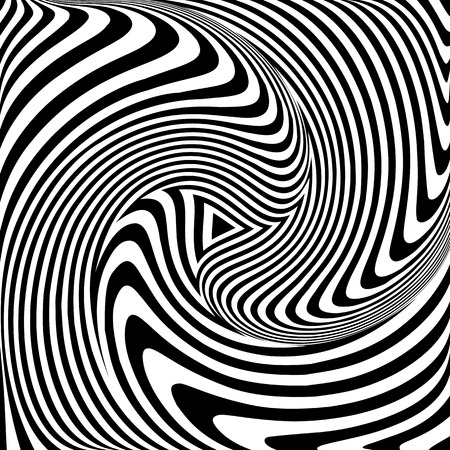 Torsion movement. Op art abstract vector illustration.