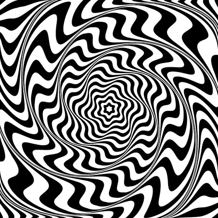 Illusion of  whirlpool movement. Abstract op art illustration. Vector art.  イラスト・ベクター素材