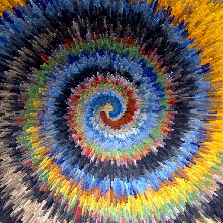 blowup: Abstract multicolor textured background. Spiral movement. Illustration.