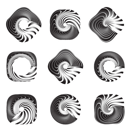 twisting: Design elements set. Twisting movement. Vector art. Illustration