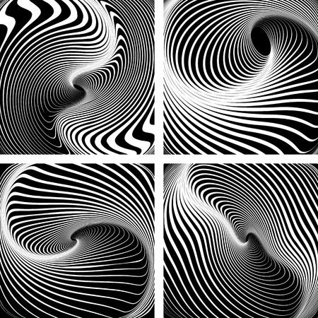 op art: Vortex movement. Op art patterns. Vector art.