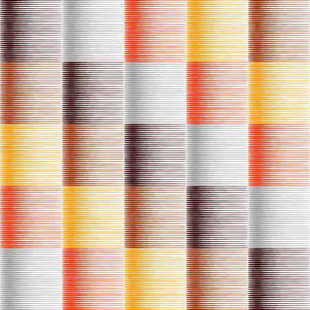 hatched: Seamless striped and checked pattern in warm colors. Hatched texture. Vector art. No gradient. Illustration