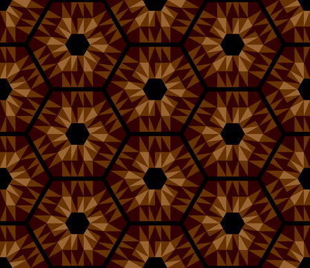 Mosaic brown hexagons pattern. Seamless texture. Vector art. Illustration