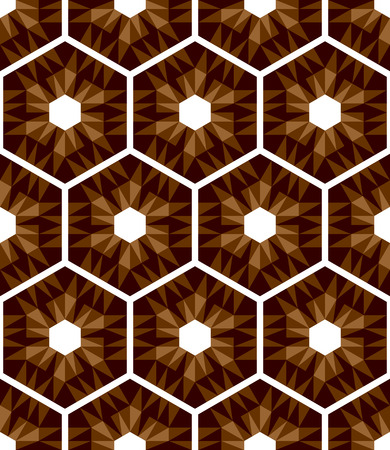 tessellated: Mosaic hexagons pattern. Seamless texture. Vector art. Illustration