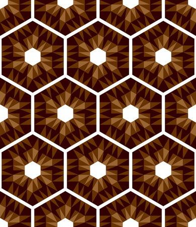 Mosaic hexagons pattern. Seamless texture. Vector art. Illustration