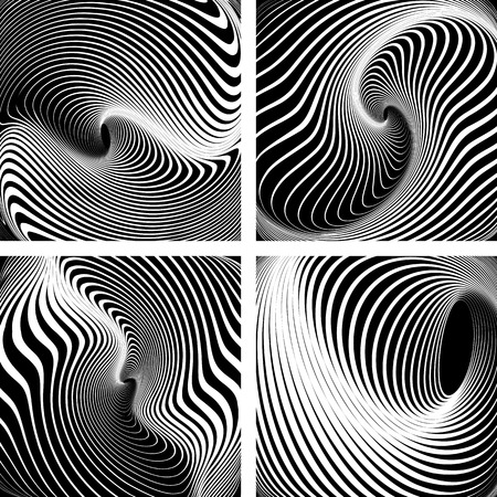 Whirlpool movement. Op art backdrops set. Vector art.