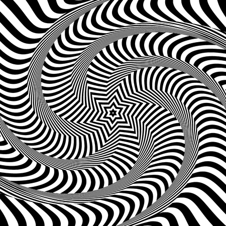 op: Torsion and rotation movement. Op art design. Vector art. Illustration