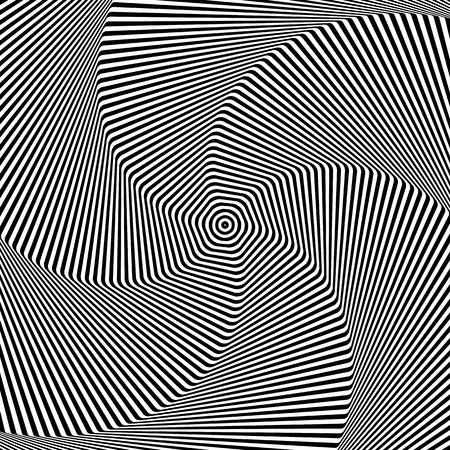 Torsion and rotation movement. Op art design. Vector art. Illustration