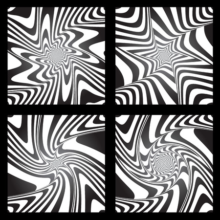 torsion: Torsion movement illusion. Abstract designs set. Vector art.