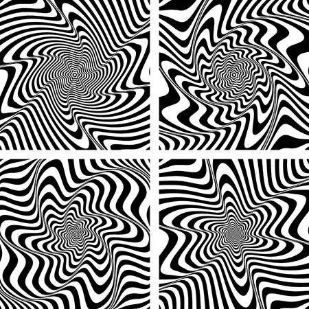 torsion: Illusion of torsion and rotation movement. Abstract designs set. Vector art.