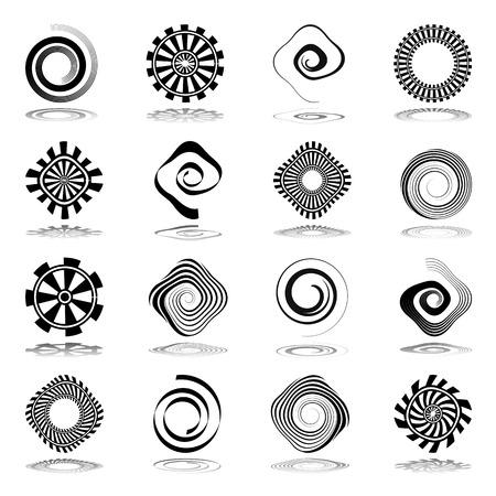 lumaca: Elementi di disegno. Spirale e icone astratte di rotazione. Vector art.