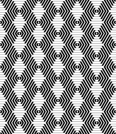 modular: Hexagons and diamonds pattern. Seamless geometric texture. Vector art.