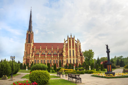 gothic revival: Holy Trinity Catholic Church in Gothic Revival style in Gervyaty Grodno region Belarus. Stock Photo