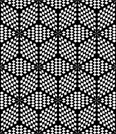 iteration: Hexagons and diamonds op art pattern. Seamless geometric texture. Vector art.
