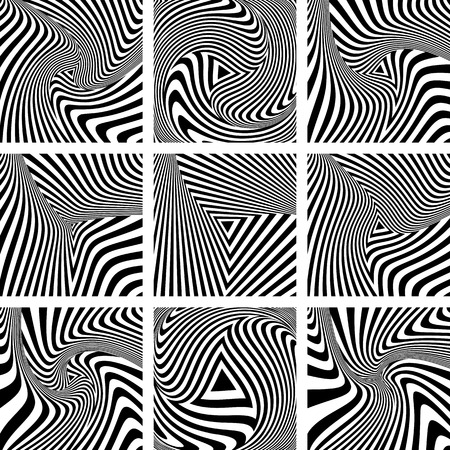 torsion: Torsion movement illusion. Op art patterns set. Vector art.