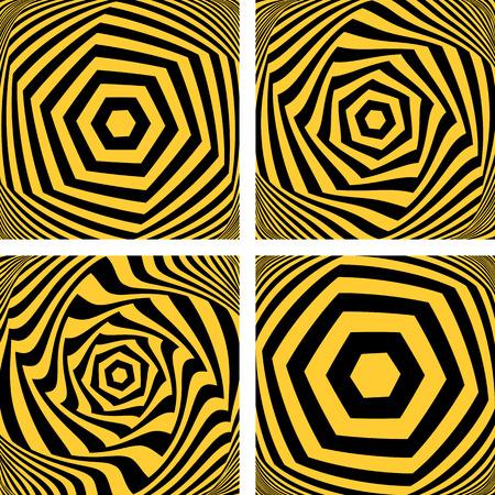 torsion: Torsion movement set. Hexagonal shapes. Vector art.