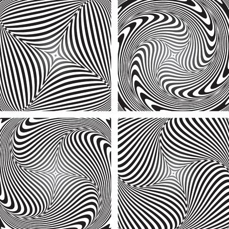 torsion: Torsion movement illusion. Op art designs set. Abstract vector illustrations.