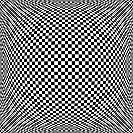 volumetric: Op art checkered  pattern. Abstract textured geometric background.  Illustration