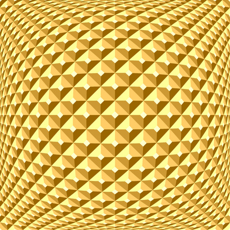 goldish: Golden checked relief pattern. Abstract textured background.  Illustration