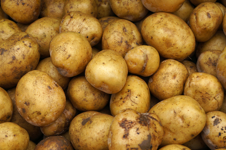Potatoes at vegetable market. Imagens