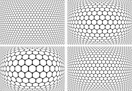 latticed: Hexagons patterns. Abstract geometric backgrounds set. Vector art. Illustration
