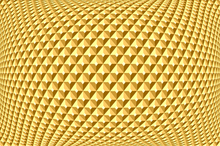 convex: Geometric golden pattern. Abstract textured background. Vector art.