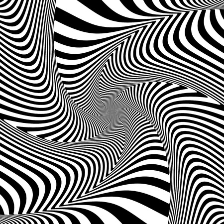 twisting: Optical illusion of torsion twisting movement. Dynamic effect. Vector art.