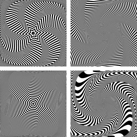 dynamic movement: Optical illusion of torsion twisting movement. Dynamic effect. Set of abstract designs. Vector art.