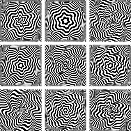 Illusion of wavy rotation movement. Design elements set. Vector art. Ilustrace