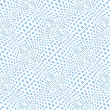Seamless blue stars pattern. 3D optical illusion. Vector art