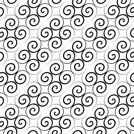 spire: Latticed pattern with curls. Seamless diagonal texture. Vector art. Illustration