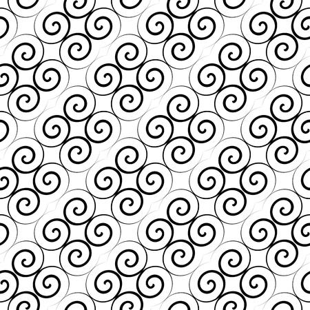curls: Latticed pattern with curls. Seamless diagonal texture. Vector art. Illustration
