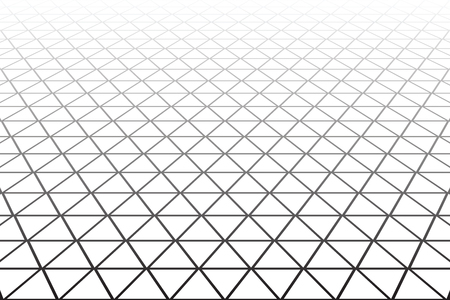 meshy: Triangles, diamonds and  hexagons geometric latticed texture. Perspective view. Vector art.