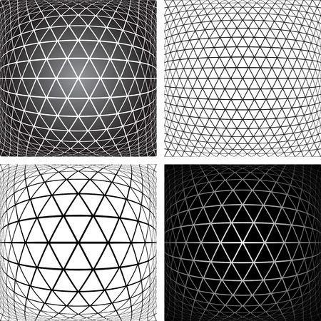 volume: Triangles, diamonds and  hexagons patterns set. 3D geometric latticed textures.  Vector art.