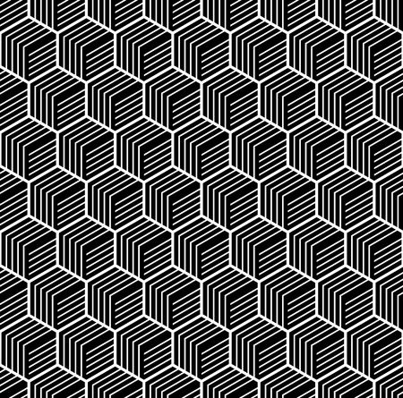 illusions: Seamless geometric texture. Hexagons pattern. Vector art. Illustration